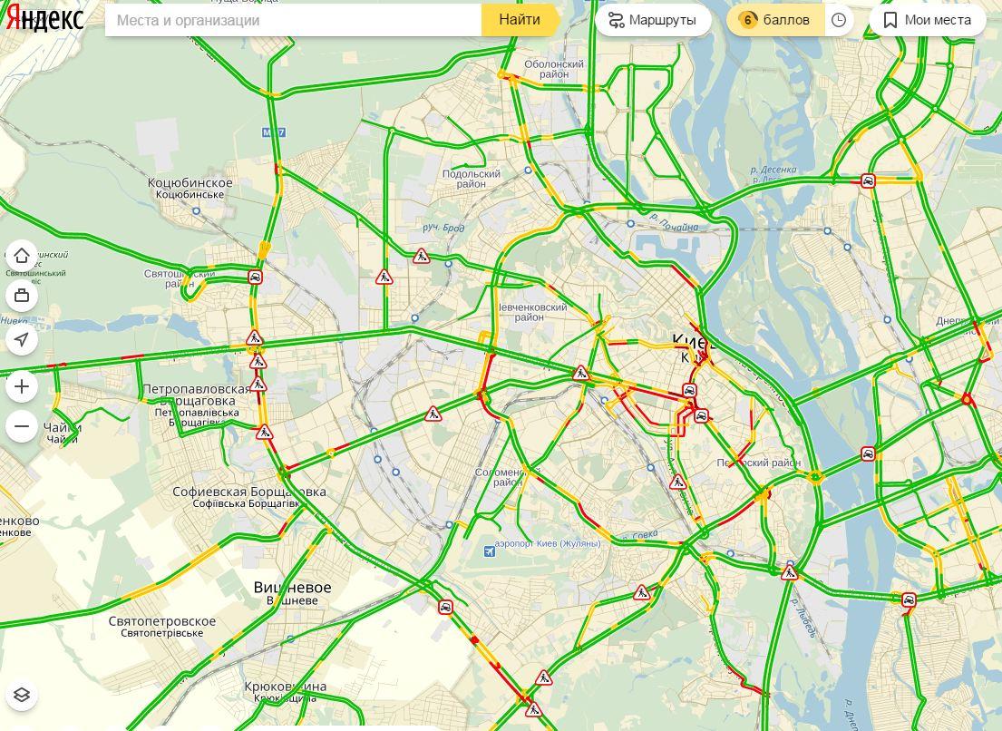В столице России навсех больших трассах пробки достигли 8 баллов