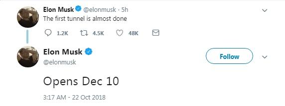 Маск назвал дату запуска первого туннеля Hyperloop