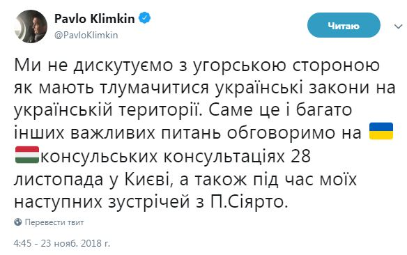 Климкин: мы не дискутируем с Венгрией о толковании украинских законов в Украине