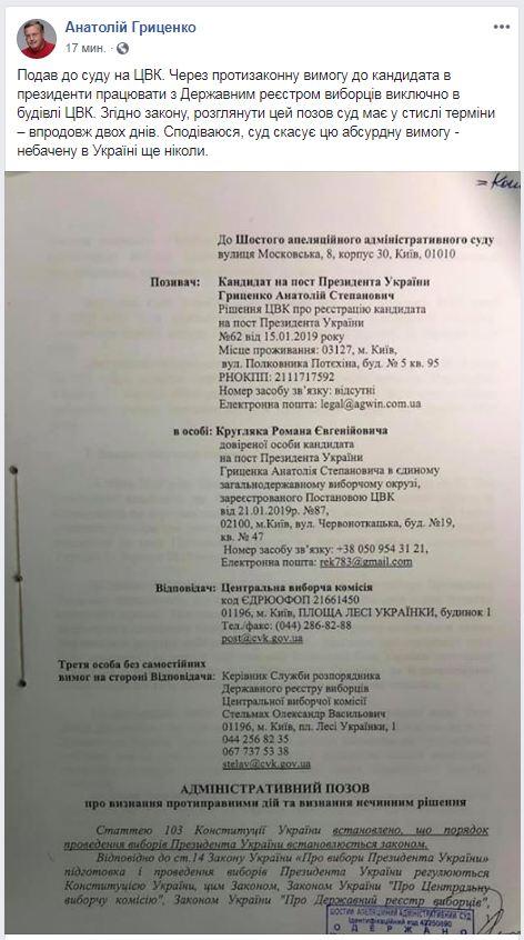 Гриценко подав позов до ЦВК