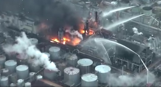 ВЯпонии нанефтеперерабатывающем заводе произошел пожар