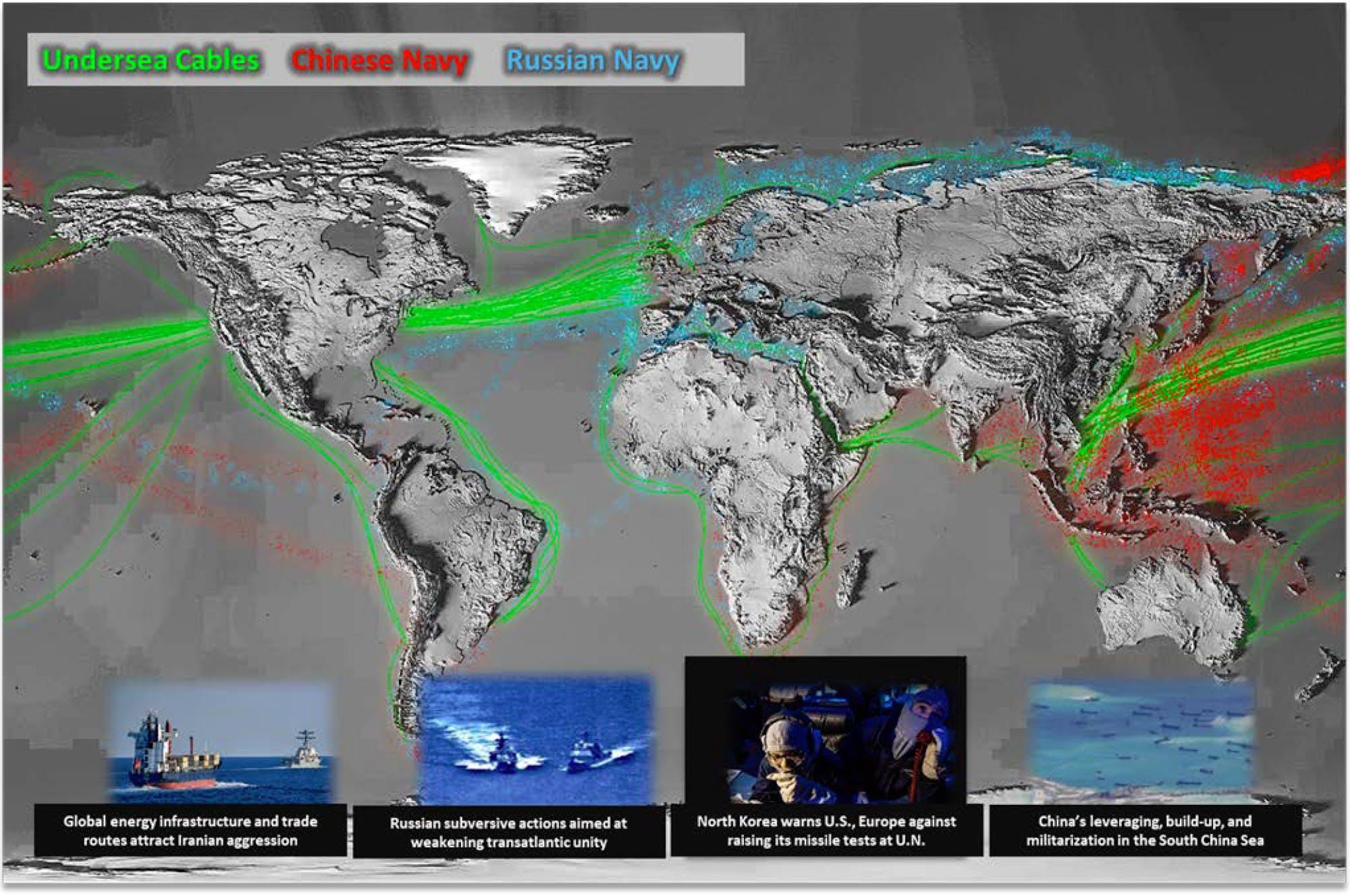 Пентагон опубликовал карту активности ВМФ России