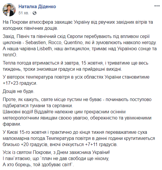 Антициклон удержит в Украине солнечную погоду