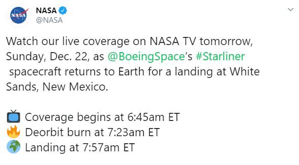NASA вернет на Землю корабль Starliner после провального испытания