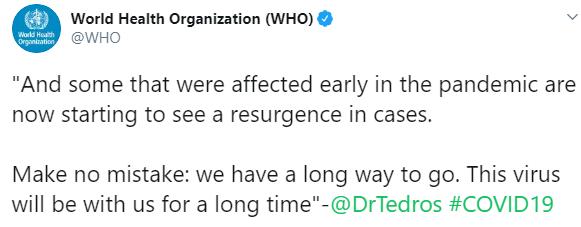 ВОЗ: коронавирус еще долго будет с нами