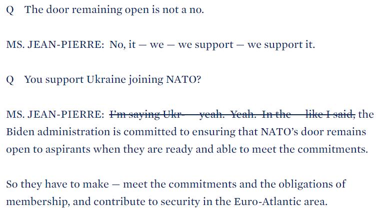 Білий дім виправив заяву свого представника щодо вступу України в НАТО