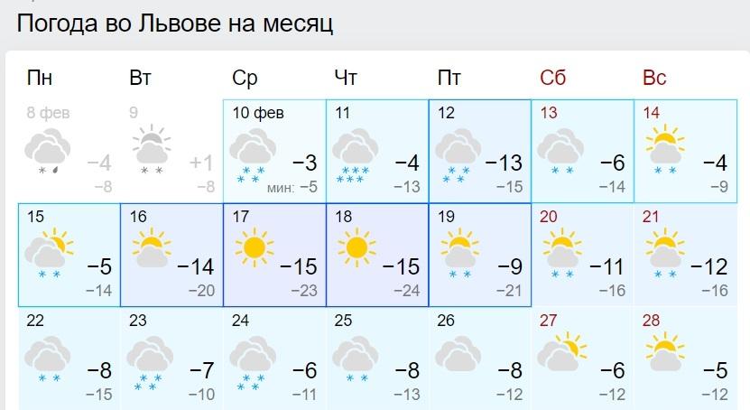Люті морози до -28 і ні одного теплого дня: прогноз погоди до кінця лютого