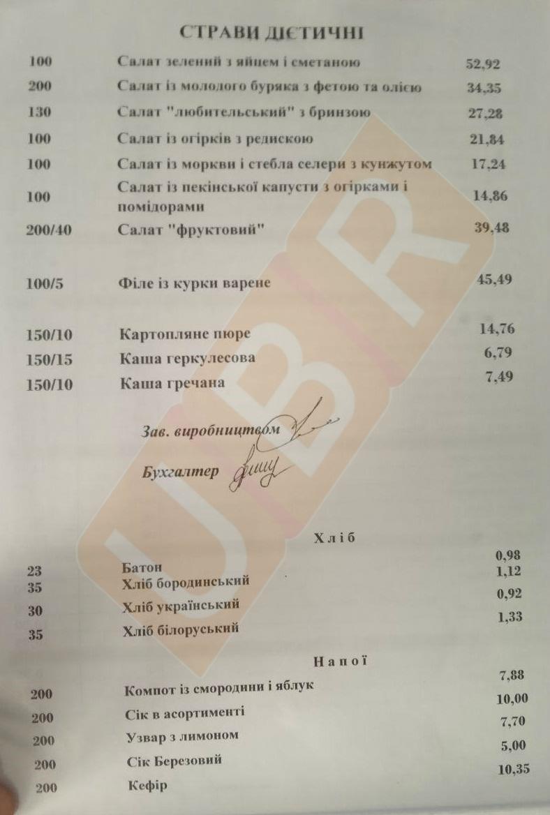 Скільки коштує поїсти в їдальні Верховної Ради: фото меню