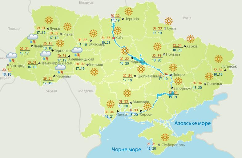 Сьогодні в Україні переважно сонячно, температура до +34