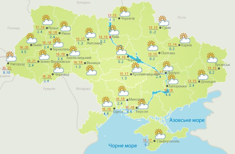 Вгосударстве Украина без осадков, температура до +23