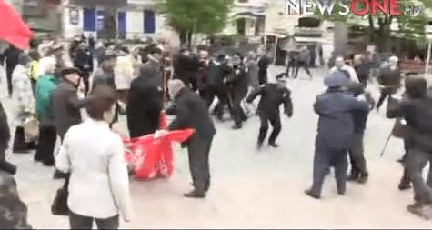 ВВиннице радикалы напали на пожилых людей намитинге вчесть 1Мая