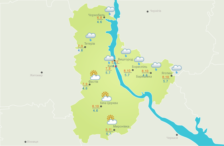 Усиление похолодания и местами - дожди: прогноз погоды в Украине на сегодня