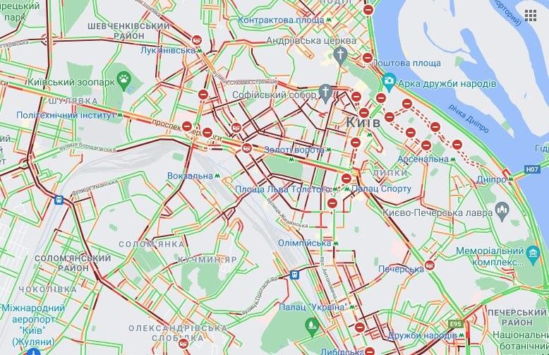 Пробки в Киеве 18 августа. Фото: