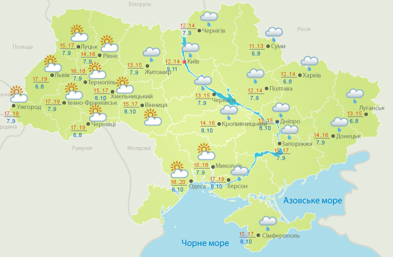 В Украину идет потепление
