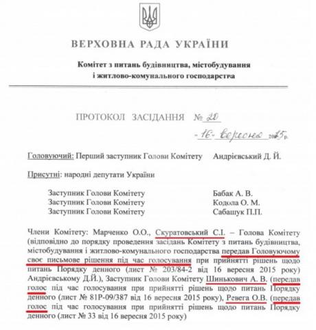 Выдержка из протокола заседания, картинка опубликована А. Братущаком