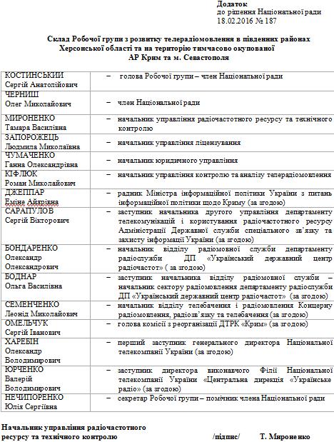 Нацрада з телерадіомовлення створила робочу групу з розвитку телебачення у Криму (ДОКУМЕНТ) - фото 2