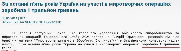 Украина за последние 5 лет участия в миротворческих операциях заработала 1 трлн грн, - ВСУ