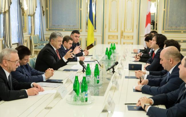 Фото: Петро Порошенко зустрівся з Іраклі Кобахідзе (president.gov.ua)