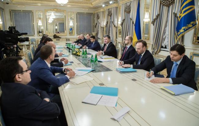 Фото: встреча Порошенко с руководителями парламентских фракций