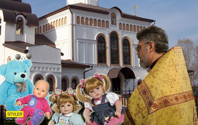 Фото: Священники УПЦ МП против кукол (Коллаж РБК-Украина)