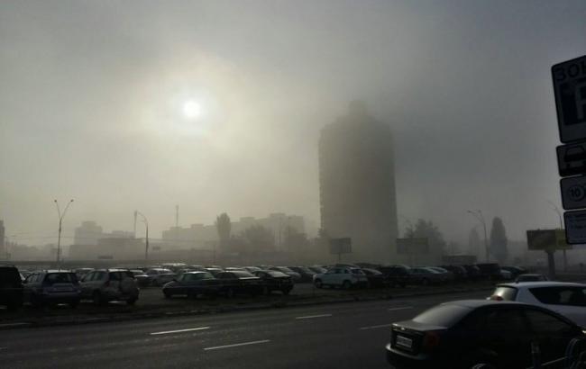 Фото: туман в Киеве