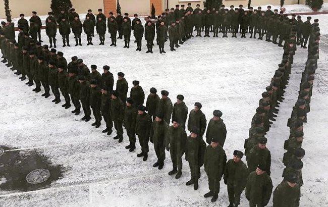 День святого Валентина: в Харькове гвардейцы выстроились в форме сердца (фото)