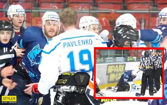Добивали лежачого: хокеїсти влаштували епічну бійку в чемпіонаті України