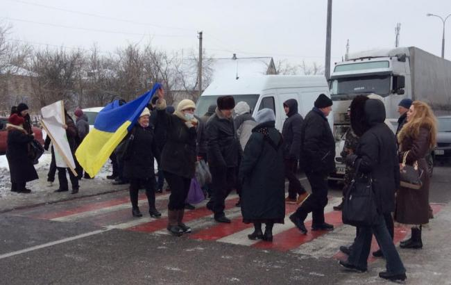 Фото: трасу Дніпропетровськ-Донецьк перекрили
