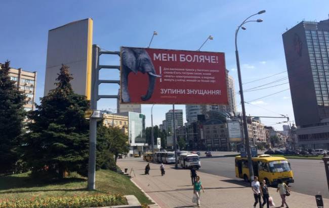 Фото: Соціальний білборд біля цирку в Києві (facebook.com/UAnimals.official)
