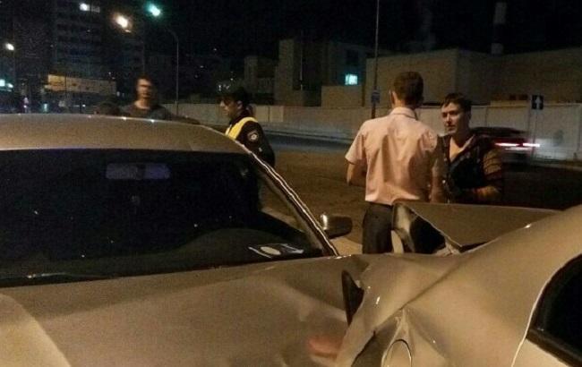 Фото: Надія Савченко на місці аварії