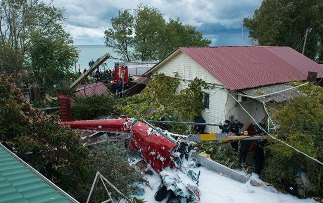 Фото: авария вертолета в Сочи
