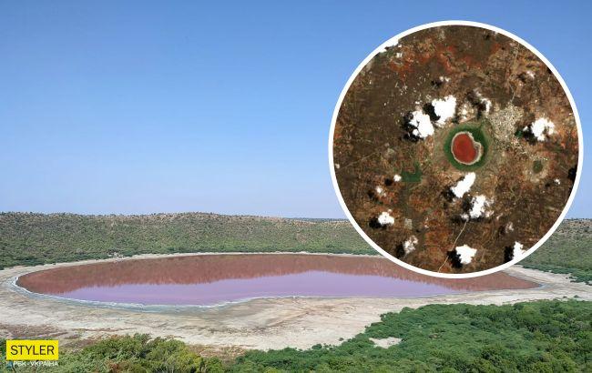 В Индии метеоритное озеро-кратер изменило цвет за одну ночь: зрелищные фото
