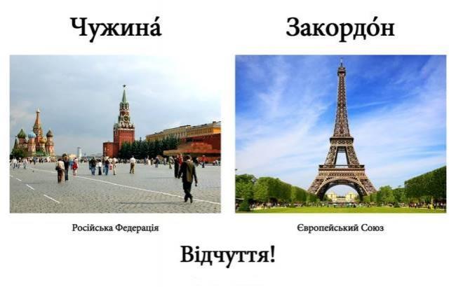 Украинцев учат бороться с русизмами с помощью провокационных картинок
