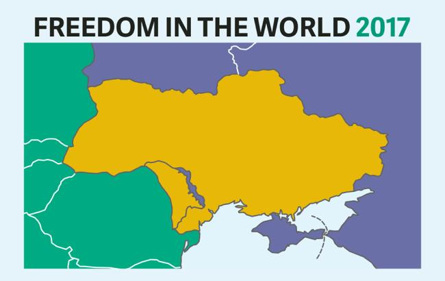 Фото: Україна на карті Freedom House