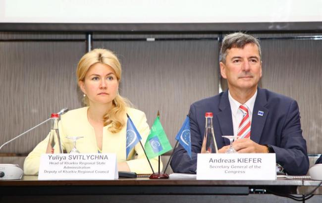 Фото: Юлія Світлична та Андреас Кіфер (прес-служба Харківської ОДА)
