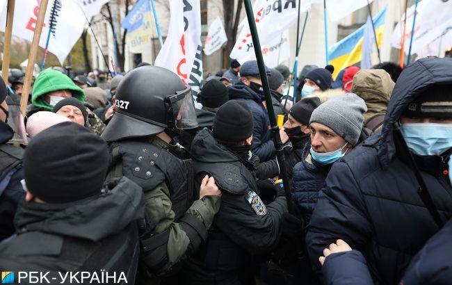 Столкновения в Киеве: полиция задержала протестующего