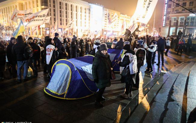 Протест ФОПов на Майдане: митингующие снова поставили палатки