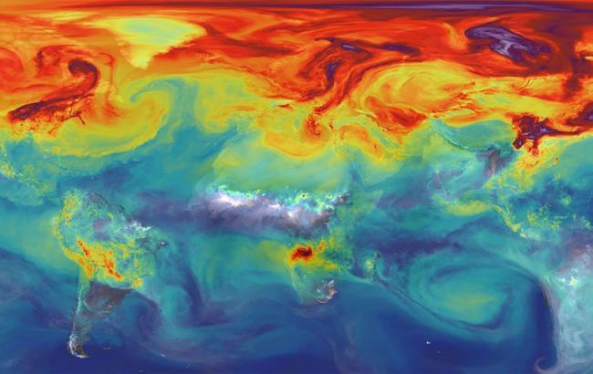 Фото: Карта забруднення повітря на Землі (mashable.com)
