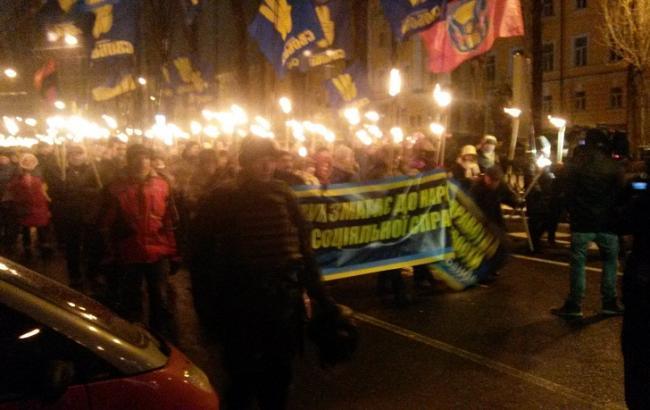 Фото: в Києві проходить марш на честь Бандери