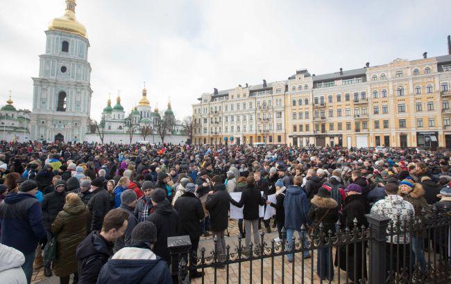 В Киеве началась акция в поддержку полиции