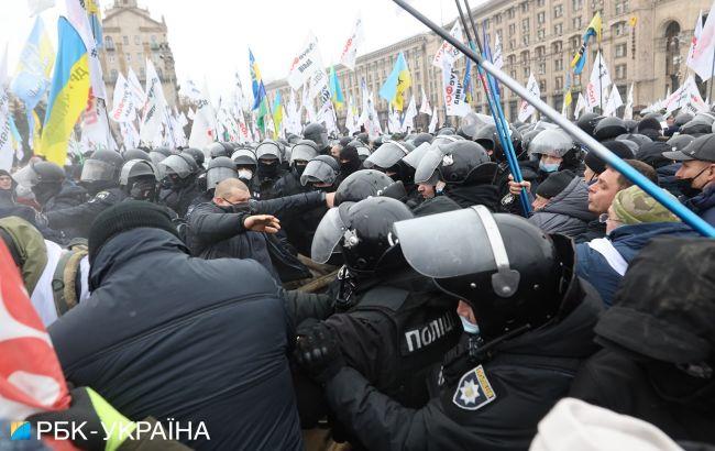 Під час протесту ФОПів в Києві постраждали близько 40 правоохоронців