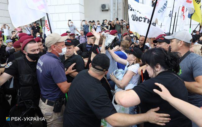 В Киеве произошла потасовка между ФОП-протестующими и полицией