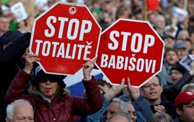В Праге тысячи людей вышли на антиправительственный протест
