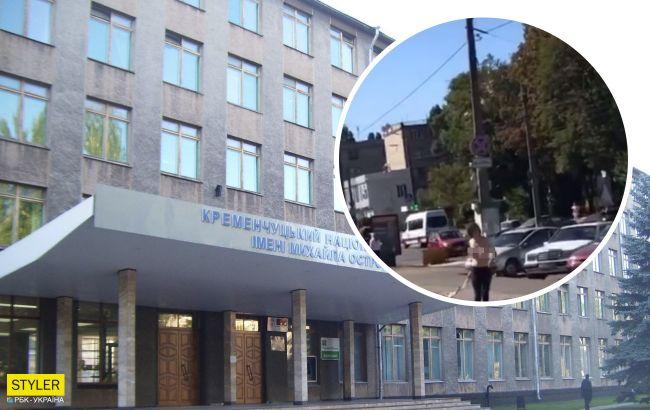У Кременчуці дівчина розгулювала топлес перед університетом (відео)