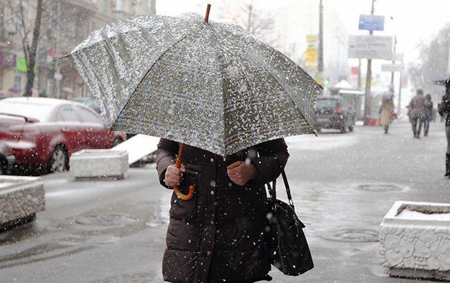 Погода на сьогодні: в Україні переважно сніг з дощем, вдень до +9