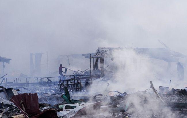 Фото: место взрыва фейерверков