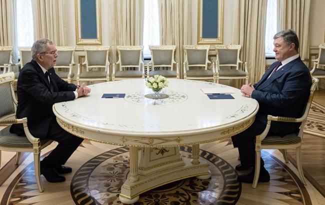 Фото: Петр Порошенко и Ван дер Беллен (prezident. gov.ua)