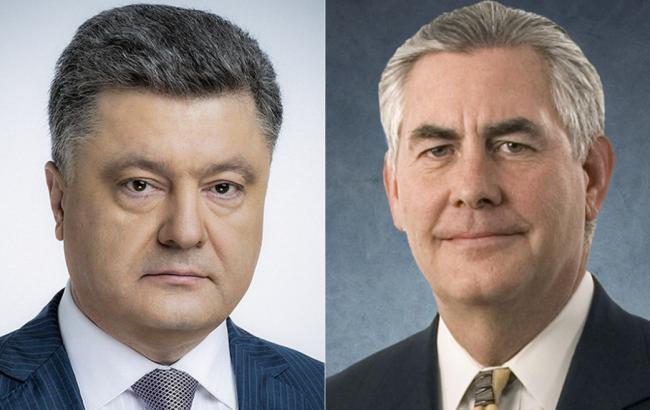 Порошенко обговорив із Тіллерсоном питання розміщення на Донбасі миротворців ООН
