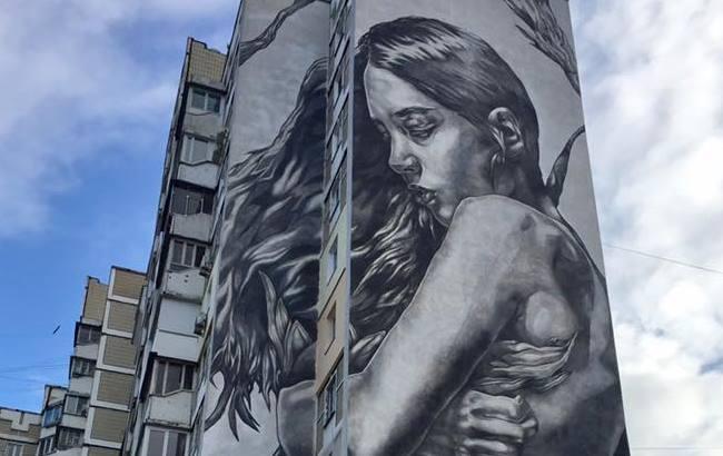 Фото: Мурал на двох площинах у Києві (facebook.com/gennadiy.sintsov)