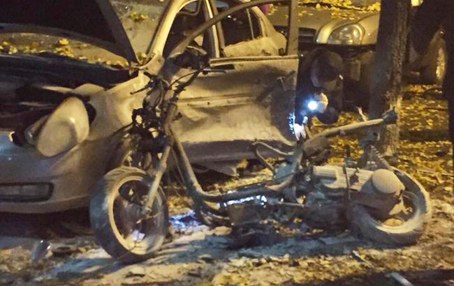 Взрыв в Киеве: у следствия есть кадры, как террорист устанавливал мотоцикл возле телеканала